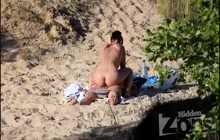 Hottie riding a dick on the beach