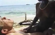 Interracial sex on the beach